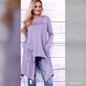 NWOT Lilac Asymmetrical hooded cape pullover